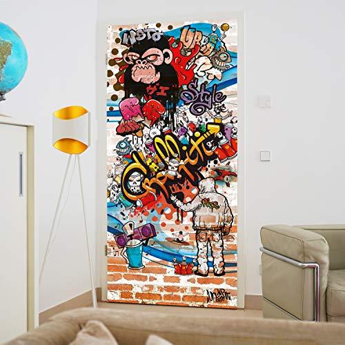 murimage Papel Pintado Grafiti 86 x 200 cm Incluye Pegamento Hip Hop Ladrillo Infantil Graffiti Art Grunge Piedras Fotomurales