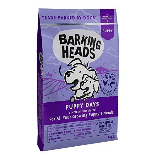 Barking Heads Welpenfutter Trocken Getreidefrei - Welpentage - 100 Natürlich, Huhn und Lachs, Hundefutter Junior, für starke Zähne und Knochen, 6kg