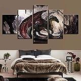 Cuadro En Lienzo 5 Pieza Pintura En Lienzo Dragon Forest Arte De La Pared 5 Piezas Imagen Impresión En Lienzo Imagen De Pared Decoración del Hogar 150X80Cm
