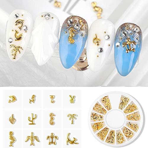 Sethexy 2Boxen Gold-Silber Nagel Bolzen Metall Gemischte Formen Blume Sterne Halbmond Edelsteine Nägel Kunstjuwelen für Mädchen Fingernägel & Zehennägel Dekorationen Tipps Maniküre(C)