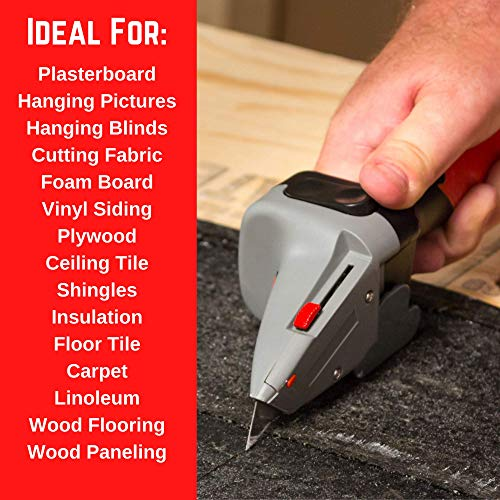 Drywall Axe All-in-one Hand Tool with Measuring Tape and Utility Knife – Measure, Mark and Cut Drywall, Shingles, Insulation, Tile, Carpet, Foam – Measure and Mark Wood for Rip Cuts