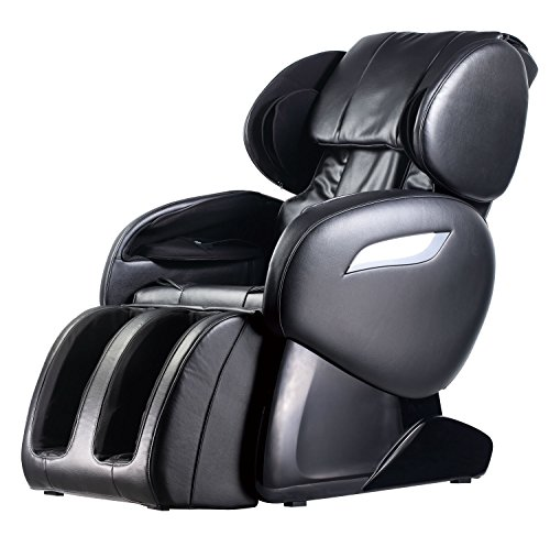 Zero Gravity Full Body Electric Shiatsu UL Approved Massage Chair Recliner with Built-in Heat Therapy and Foot Roller Air Massage System Stretch Vibrating for Home Office (Black)
