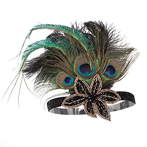 MGW Diadema de Plumas de Pavo Real de los años 20, Vintage Accesorio para Disfraz de Gatsby 5 Piezas Adecuado para Fiestas de Boda Disfraces Halloween Disfraces