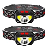TINMIU 2-Pack Rechargeable Headlamp Flashlight, 800 Lumens Motion Sensor Head Lamp, IPX4 Waterproof, Bright...