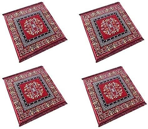 Theglobalstore Pooja Aasan Red Velvet Mat of 4 for Low price Rag Set Bombing free shipping