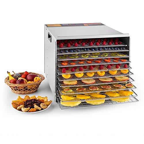 Klarstein Fruit Jerky Pro 10 - Desecadora, Deshidratadora, 10 Pisos, Bandejas extraibles, Temperatura Regulable, 1,5 m² de Superficie, Temporizador, Ventilador, Carcasa de Acero, Plateado