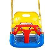 Profun Altalena 3 in 1 da Giardino per Bambini Sedile in Plastica con Schienale Alto e Protezione Anteriore Staccabile con Corda 2M Sicura (Colour1)