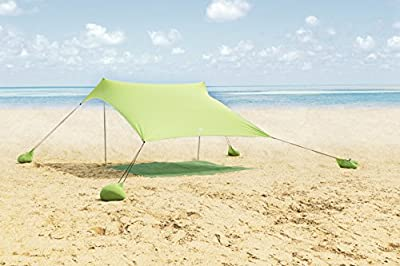 ALPHA CAMP Beach Shade Portable Canopy Sun Shelter with Sandbag Anchors - 7.6' x 7.2'