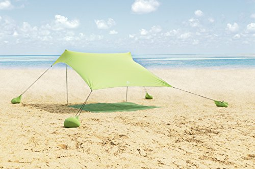 ALPHA CAMP Beach Shade Portable Canopy Sun Shelter with Sandbag Anchors - 7.6' x 7.2' Green