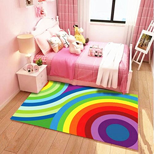 USTIDE Kids Play Rugs 2.6ftx5.2ft Colorful Rainbow Kids Playmat Washable, Easy Clear Soft Children Bedroom Decor Living Room Rugs