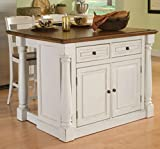 Home Styles Large Monarch Stationary Antique White and Distressed Oak Kitchen Island with Oak Top, Drop-leaf Breakfast Bar, Two Storage Drawers and Cabinet with Four Adjustable Shelves with Two Matching Slat Back Stools