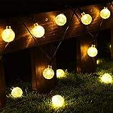 Cmyk® - Guirnalda de luz solar con 30 luces LED con cubiertas de bolas de cristal, iluminación ambiental, ideal para uso en exteriores, patio, camino, jardín, uso interior en fiesta, dormitorio decoración (blanco cálido)