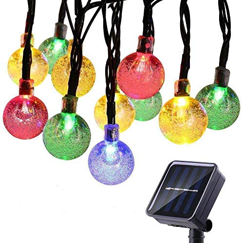 ECOWHO Solar Fairy String Lights, 25ft 40 LED Solar Powered Globe Crystal Ball Indoor Outdoor String Lights for Garden Gazebo Backyard Outdoors Party Wedding Bistro(Multicolor)