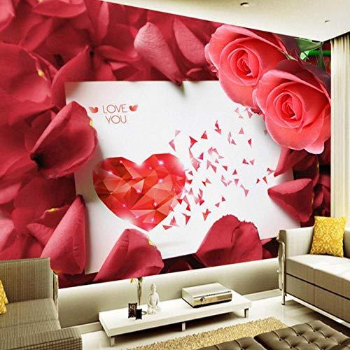 ZJfong foto behang aangepaste romantische Rose ansichtkaart TV achtergrond muurschildering slaapkamer hotel thema restaurant 140x70cm