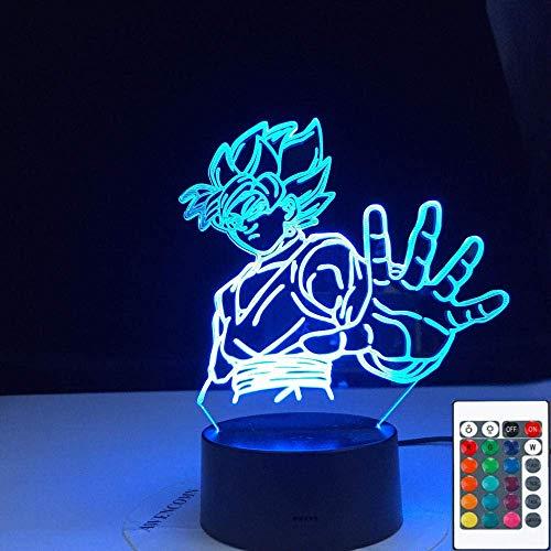 Lámpara de ilusión 3D Luz de noche LED Goku Dragon Ball Zamasu Sensor táctil súper negro Colorido para niños Decoración de habitación infantil Mejor cumpleaños para niños Regalos de vacaciones