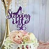 Glamour Party - Decoración para tarta de 56 cumpleaños con diseño de zapato para fiesta de cumpleaños