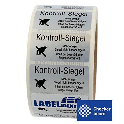 Labelident Siegeletiketten 51 x 25 mm - Kontroll-Siegel -Nicht öffnen! Siegel nicht beschädigen - 1000 Sicherheitssiegel Etiketten auf 1 Rolle(n), 3 Zoll Rollenkern, PET Checkerboard silber