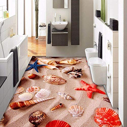 Personalizado murales y vinilos para dormitorios Custom Any Size Floor Mural Wallpaper 3D Stereo Beautiful Beach Shell Conch Floor Tile Baño Cocina PVC Impermeable Sticker-430 * 300cm