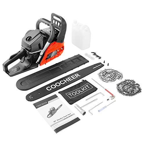 COOCHEER 20'' Chainsaw 62CC 2-Stroke Gas Powered Chain Saws with 2 Chains, Tool Kit, Carring Bags for Cutting Trees, Wood