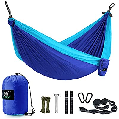 Double Camping Hammock&Straps - Multi-Functional Portable Lightweight Hammock with Many Accessories - Nylon Parachute Heavy Duty Outdoor Hammock with 2 Carabiners for Travel (BLUE/SKYBLUE)