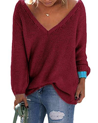 YOINS Femme Pull Long Col V Sweater Tricoté Chandail Lâche Casual Haut Manches Longues Sweatshirt Loose Top Hiver - rouge (bordeaux) - S