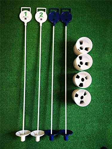 A99 Golf Putting Practice Green Flag Pin and Hole Cup 4pcs/pk (2white +2 Blue)