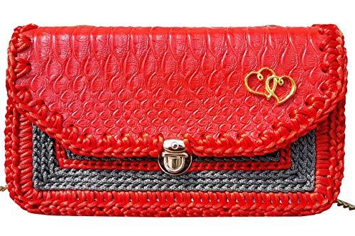 Kleine Krokodilleder Tasche auf Kette Rote Graue Umhängetasche mit Muster Bestickte Brieftasche Handytasche. Große Geldbörse Geldbeutel Reptil Leder für Kind und Mädchen