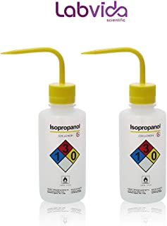 Labvida 2pcs of of Self-Venting Safety Wash Bottles, Vol.500ml 17oz, Isopropanol Wash Bottle, LDPE Material, LVM003