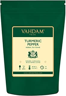 VAHDAM, Turmeric Pepper Spice Chai Tea (100 Cups)   India's Ancient Medicine Blend of Turmeric & Pepper   ABUNDANT IN ANTI-OXIDANTS & PHYTO-NUTRIENTS   Turmeric Tea   Packed in India   7oz