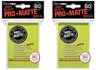 Bright Yellow Small PRO-Matte Deck Protectors Sleeves Colors Yugioh Vanguard [2 Packs of 60]