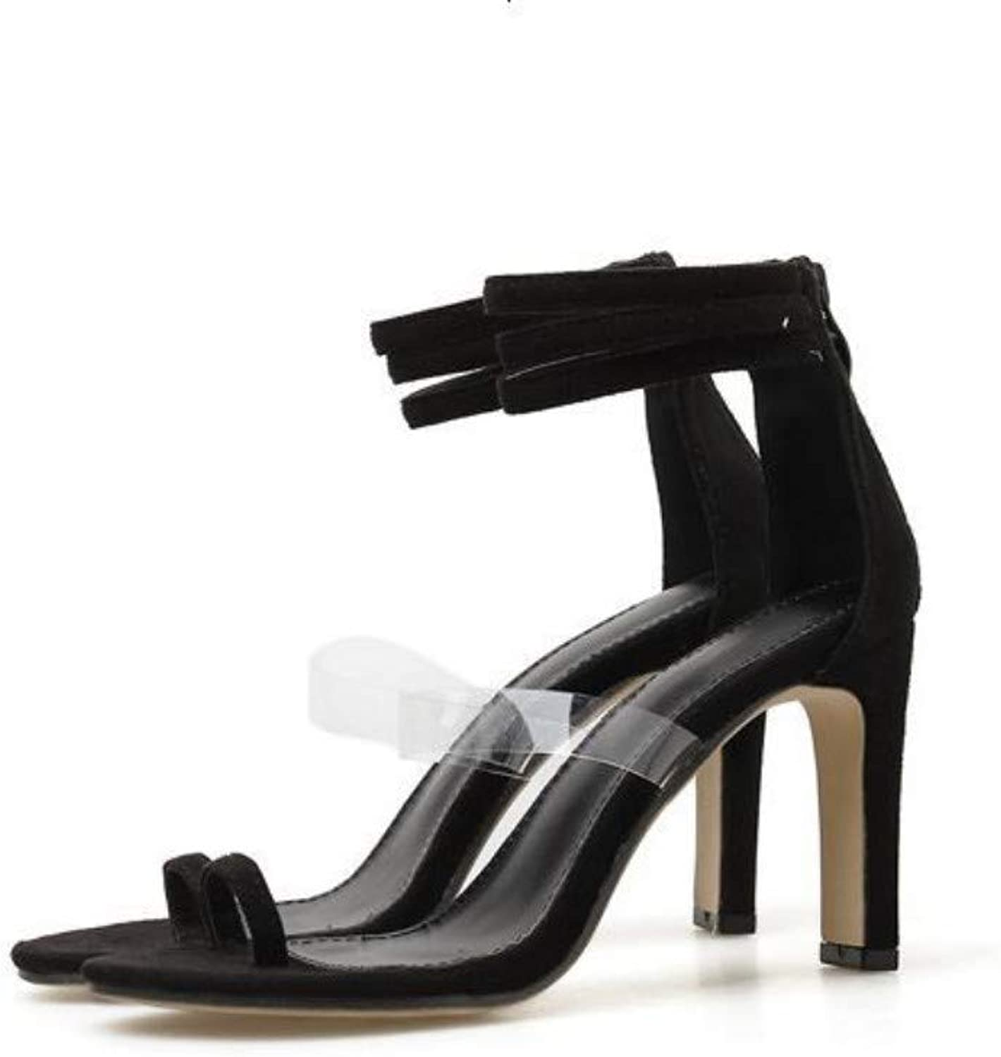 JQfashion Ladies'High-Heeled shoes Transparent Calcium Clamped Toes High-Heeled Sandals Roman shoes