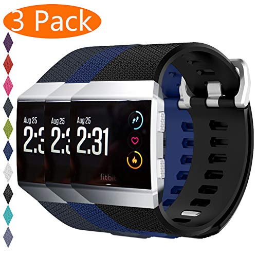 KingAcc Compatible Replacement Bands for Fitbit Ionic, Soft Silicone Fitbit Ionic Band with Metal Buckle Fitness Wristband Strap Women Men (3-Pack, Black&DarkBlue&RockGray, Small)