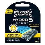 Wilkinson Sword Hydro 5 Sense ENERGIZE - Recambio de Cuchillas de Afeitar de 5 Hojas Ultradeslizantes para Hombres , Banda Lubricante Antifatiga con Mentol , 4 Unidades