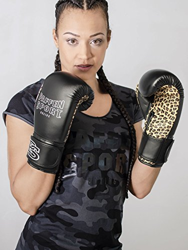 Paffen Sport Lady Leo Frauenboxhandschuhe – Boxhandschuhe für Damen – schwarz/Leo – 12UZ