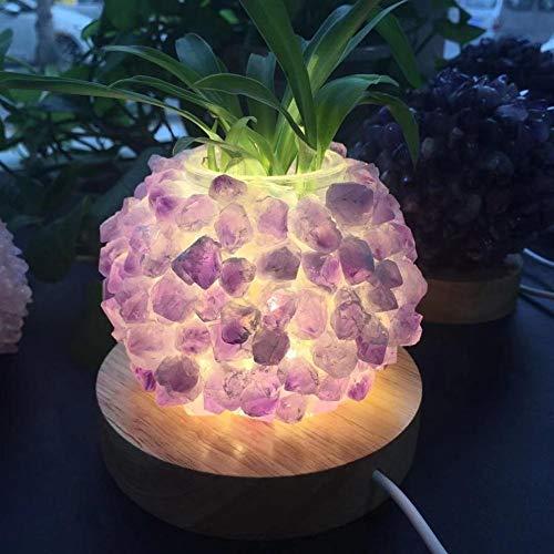 ACEACE La meditación de la lámpara Hermosa Amatista Natural del Cristal de Cuarzo Cluster Bricolaje piña Espiritual de Reiki for la decoración casera