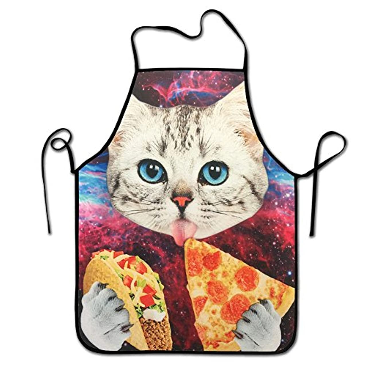 Rossne G sun Custom New Galaxy Space Lovely Kitten Cat Eat Pizza Funny Comfortable Garden Kitchen Aprons Adjustable Neck Strap