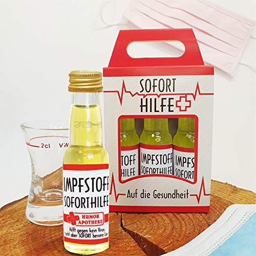 Kleiner Impfstoff Sofort Hilfe 3er Box | 3 x 0,02l | Mango-Likör | 18% vol. alk. | Humormedizin | Der erste Impfstoff gegen das Virus kommt aus unserer Humorapotheke