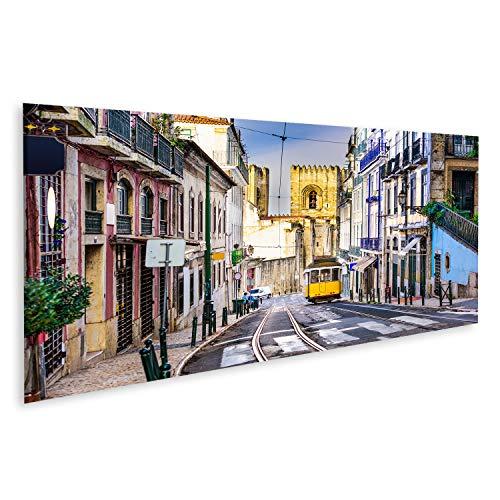islandburner, Cuadro Cuadros Lisboa, Paisaje Urbano de Porgugal y tranvía Cerca de la Catedral de Lisboa. Impresión Lienzo Formato Grande Cuadros Modernos QOG