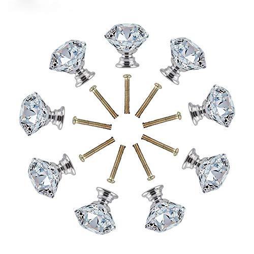 MINGZE 12 Stück 30mm Kristall Türgriff, Schrankknöpfe Schubladenknöpfe Möbelknöpfe Möbelgriffe Möbelknauf Schrankgriffe, Kommode Diamant Glas Griffe für Zuhause Büro DIY (Transparent 30mm | 12St)