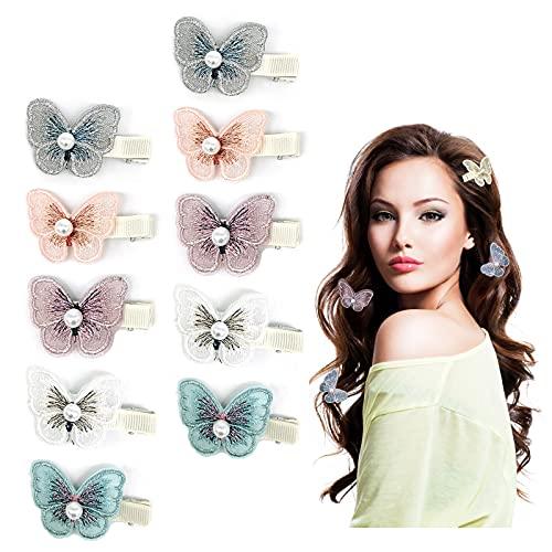 Geoyien Haarspangen Schmetterling, Haarklammern Perle Haarspangen Stoff Haarspangen Haarnadeln Haarclips für Damen Mädchen Kinder Haarschmuck, (10 Stück)