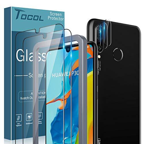 TOCOL 4 Stück Schutzfolie Kompatibel mit Huawei P30 Lite/P30 lite New Edition 2 Stück und 2 Stück Kamera Panzerglas HD Displayschutzfolie 9H Hartglas Blasenfrei Positionierungsrahmen Blasenfrei