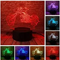 3D LED錯視ランプ オートバイナイトライトタッチRGB 7色調光グラデーション寝室デスクs Usbおもちゃギフト
