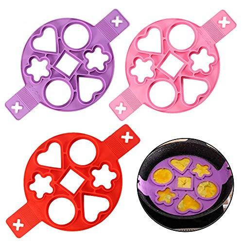 WENTS Nonstick Silikon Ei Ring Pfannkuchen Form, Omelett Eierring, Antihaft-Silikonform für Runde Eier, Muffins, Pfannkuchen, 3 Stpcks