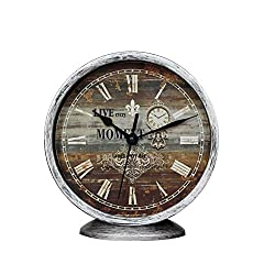 Classic Silent Desk Clock 6 Inch Non-Ticking Decor Silver Wall Clocks Easy to Ready for Kitchen Bathroom Office