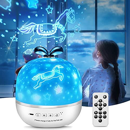 BNEHHOV Lámpara Proyector Infantil Lámpara Proyector Estrellas 6 Modos 360°Rotación con Control Remoto 8 Sonidos de Musica Relajante para Niños y Bebés Cumpleaños Vacaciones Romanticas Navidad