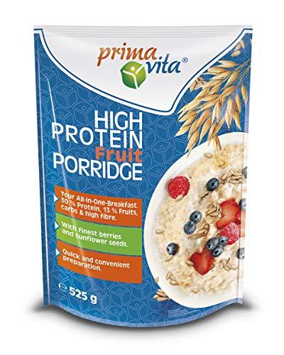 Primavita - Gachas de avena con frutos rojos y pipas de girasol con alto contenido en proteínas, 525g (7 sobres de ración)