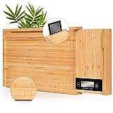 Planche à découper en bambou avec balance de cuisine numérique, support pour tablette iPad, règle | Planche en bois 4 en 1 innovante | Planche à découper en bois naturel sans plastique