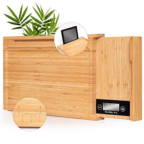 Schneidebrett Holz - aus Bambus mit digital Küchenwaage, iPad Tablet-Halter, Lineal | innovativ 4-in-1 Holzbrett | küchen Gadgets | plastikfreie Schneidbrett | Naturholz-Brettchen | Schneidebrett