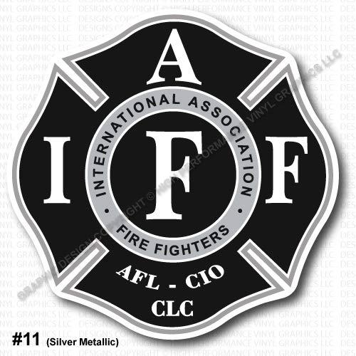 "High Performance Vinyl Graphics LLC IAFF Union Firefighter Decal Sticker Silver Metallic Black White 3.7"" Laminated Regular Mount 0345"