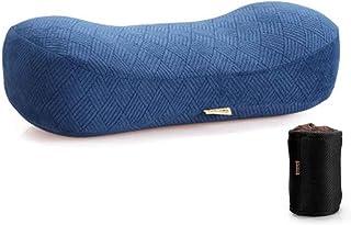 携帯枕 昼寝 旅行用 洗える コンパクト 多機能 低反発 収納 (ネイビー)